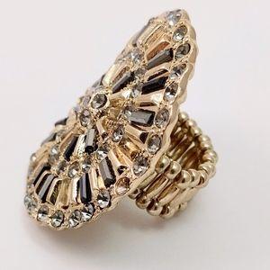 Jeweled Medallion Oversized Statement Ring